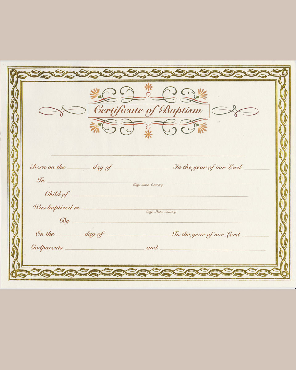 Customized Baptism Certificate With Gold Foil Leafing Border One