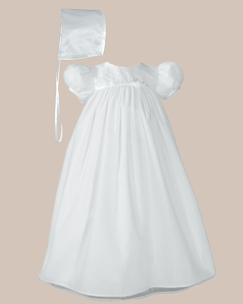 51e21b64a5b34 Baby Girls White Embroider Taffeta Christening Dress