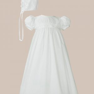 Girls White Polycotton Christening Baptism Gown with Lace Trim & Bonnet - One Small Child