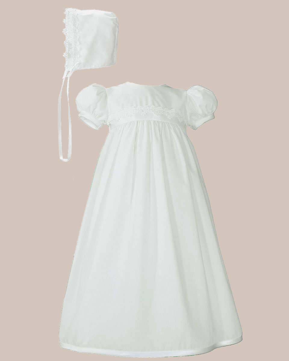 Baptismal Gown Preservation: Girls White Polycotton Christening Baptism Gown With Lace