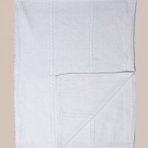 Fancy White Christening Blanket with Cable Knit Pattern - One Small Child