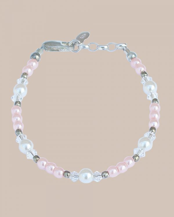 Adjustable Pink Pearl, Crystal and Sterling Silver Bracelet - One Small Child