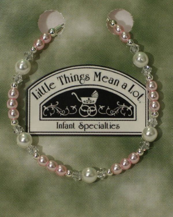 Adjustable Pink Pearl, Crystal and Sterling Silver Bracelet