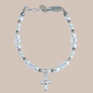 White Pearl Crystal Cross Girls Bracelet - One Small Child
