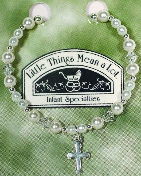 White Pearl Crystal Cross Girls Bracelet