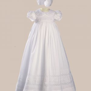 """Girls 33"""" White Cotton Short Sleeve Christening Baptism Gown with Hand Embroidery - One Small Child"""