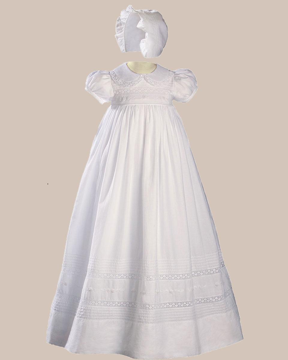 Girls 33 Quot White Cotton Short Sleeve Christening Baptism
