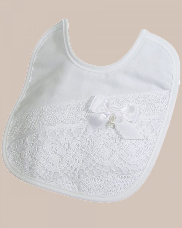 Girl's Cotton Bib with Cluny Trim