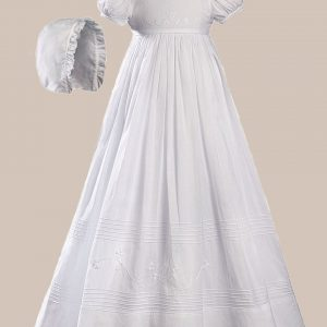 """Girls 32"""" White Cotton Short Sleeve Christening Baptism Gown with Floral Shamrock Embroidery - One Small Child"""