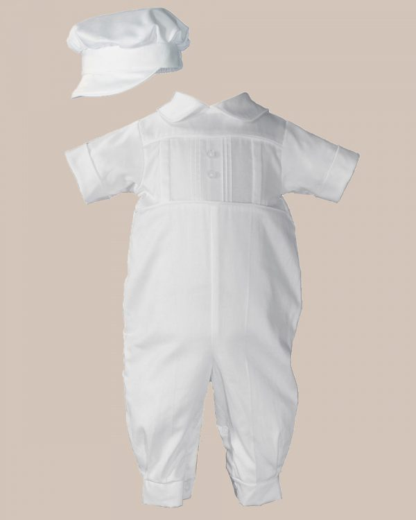 Boys Cotton Sateen Short Sleeve Christening Baptism Coverall with Pleated Front and Hat - One Small Child