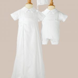 Boys 100% Cotton Convertible Christening Baptism Set with Hat - One Small Child
