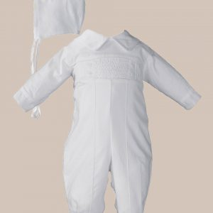 Boys Long Sleeve Cotton Hand Smocked Pin Tucked Christening Baptism Coverall - One Small Child