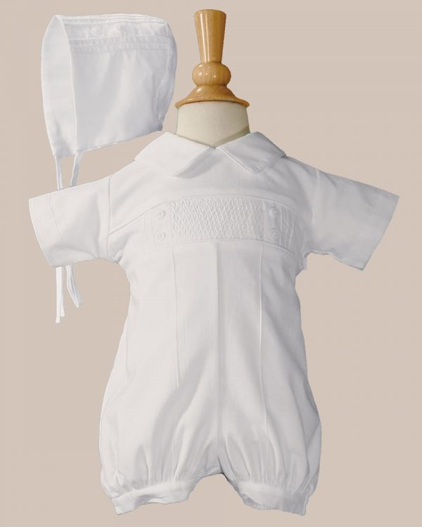 Baby Boys White Cotton Smocked Baptism Outfit Set