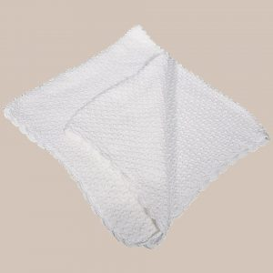 White Cotton Hand Crochet Shawl with Popcorn Pattern - One Small Child