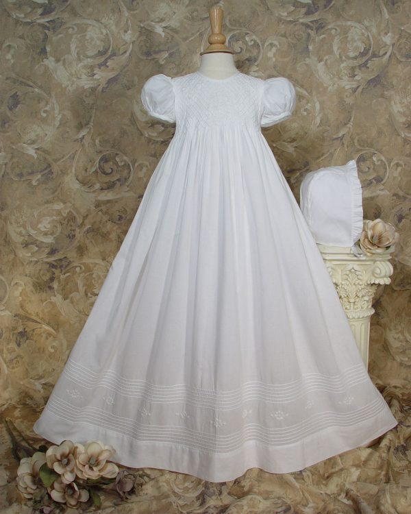 """Girls 32"""" Cotton Hand Smocked Christening Gown Baptism Dress with Hand Embroidery - One Small Child"""