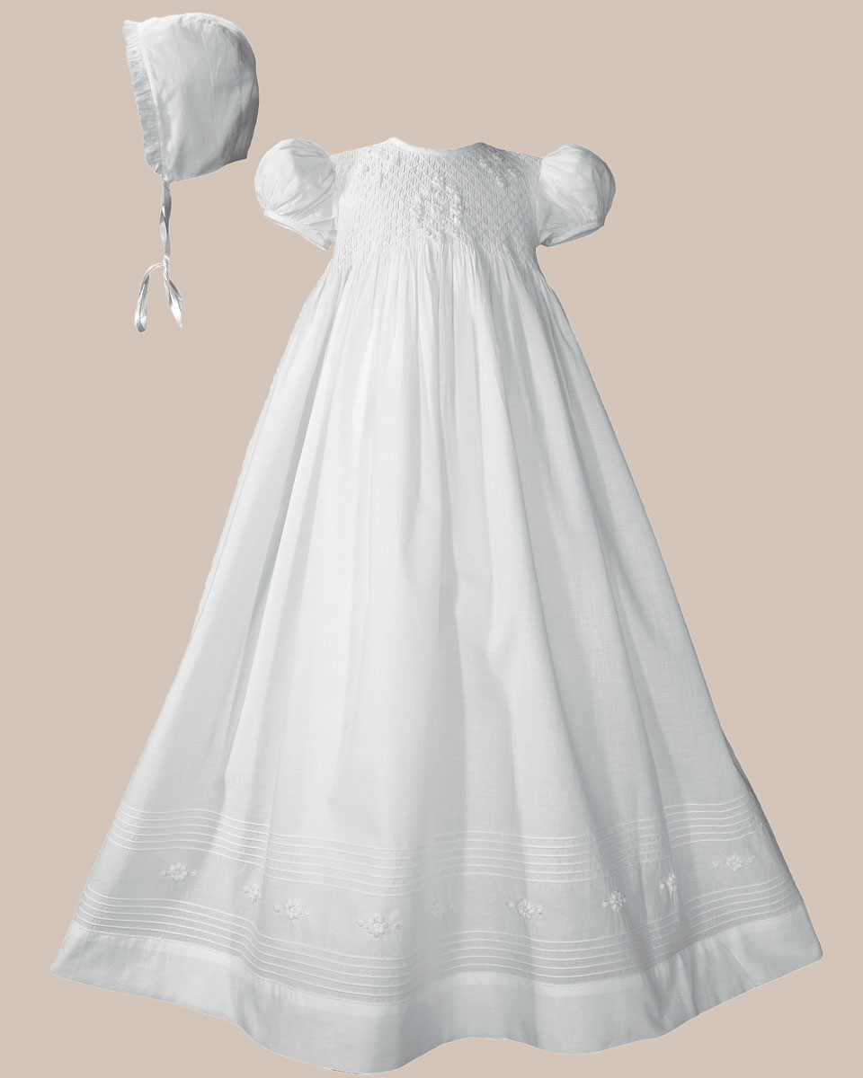 "Baptismal Gown Preservation: Girls 32"" Cotton Hand Smocked Christening Gown Baptism"