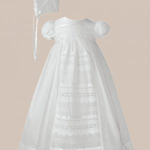 """Girls 26"""" Cotton Dress Christening Gown Baptism Gown with Venise Lace - One Small Child"""