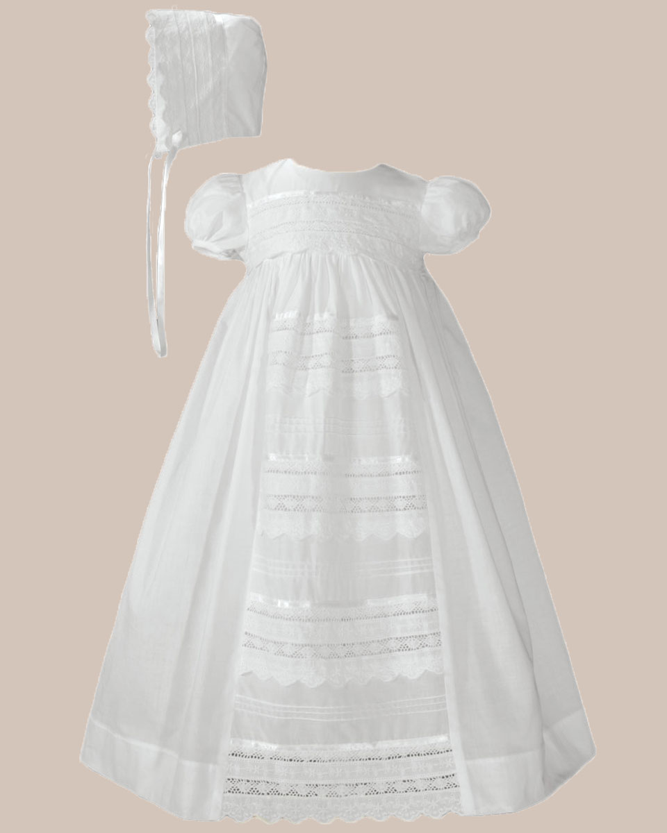 "Baptismal Gown Preservation: Girls 26"" Cotton Dress Christening Gown Baptism Gown With"