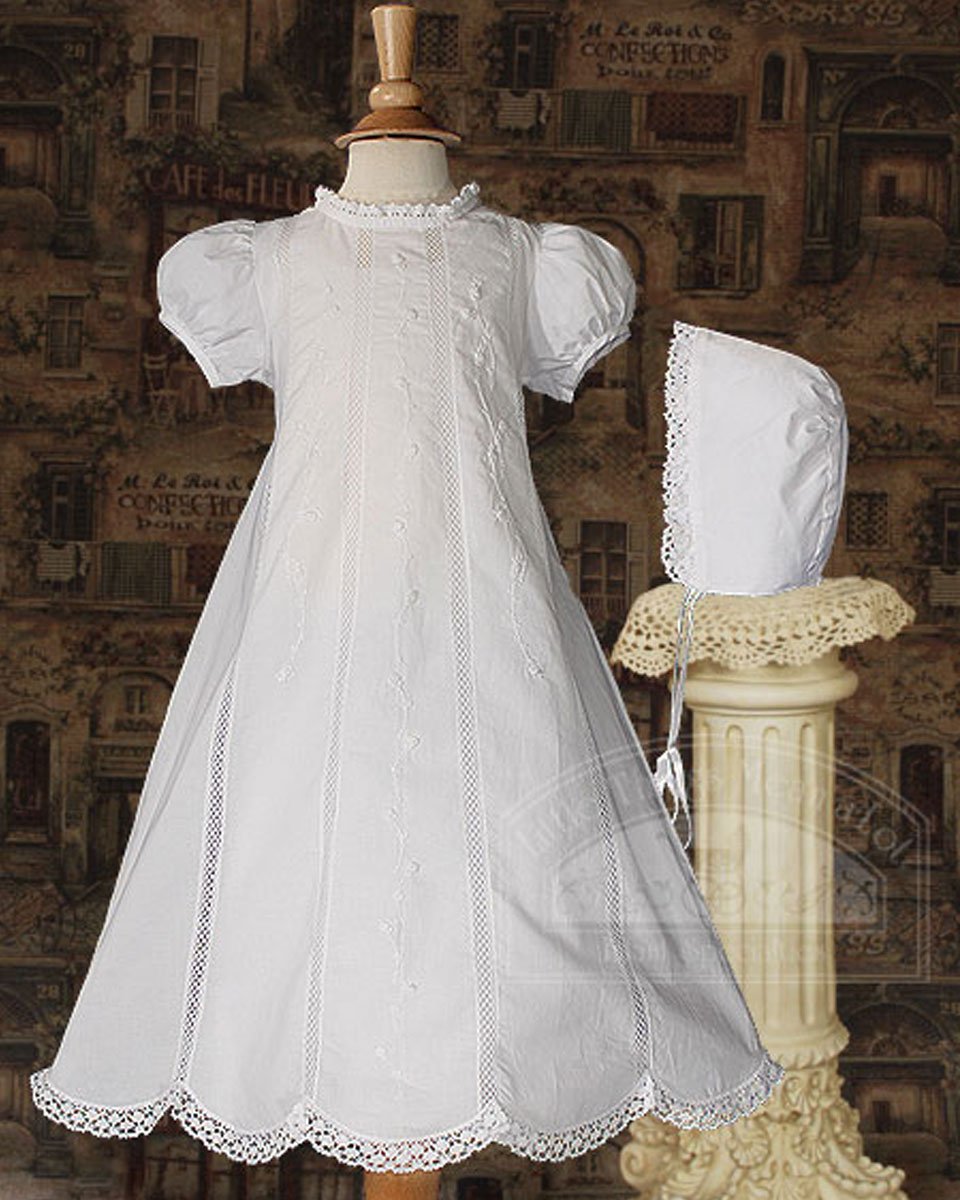 "Baptismal Gown Preservation: Girl 26"" Cotton Heirloom Christening Gown With Hand"