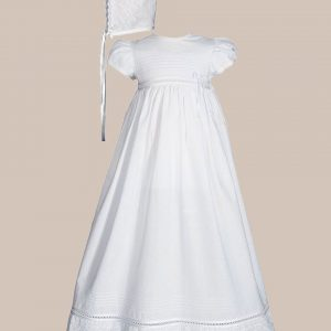 """Girls 30"""" White Cotton Dress Christening Gown Baptism Gown with Lace - One Small Child"""
