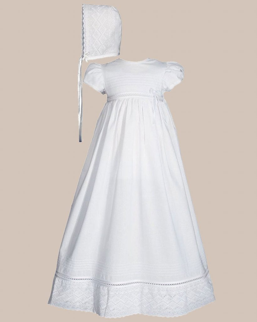 "Girls 30"" White Cotton Dress Christening Gown Baptism Gown with Lace"