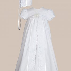 "Girls 25"" Split Panel Cotton Dress Christening Gown Baptism Gown"