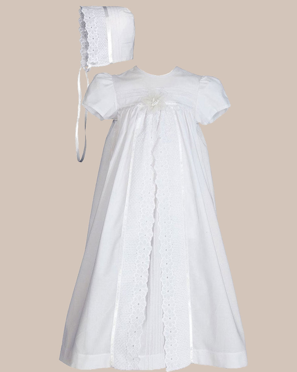 "Baptismal Gown Preservation: Girls 25"" Split Panel Cotton Dress Christening Gown"