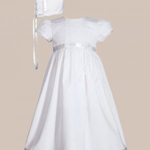 "Girls 24"" Cotton Dress Christening Gown Baptism Gown with Lace and Ribbon"
