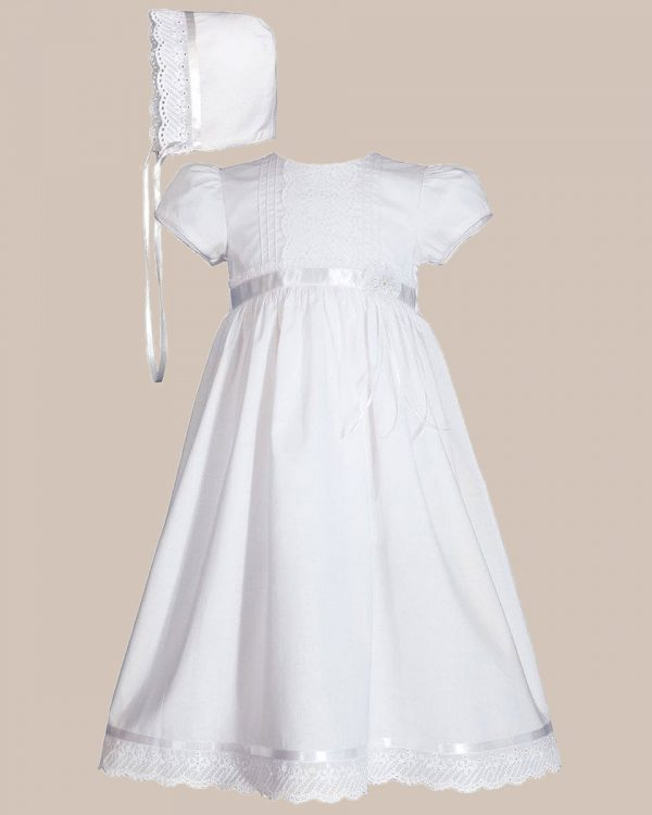 """Girls 24"""" Cotton Dress Christening Gown Baptism Gown with Lace and Ribbon - One Small Child"""