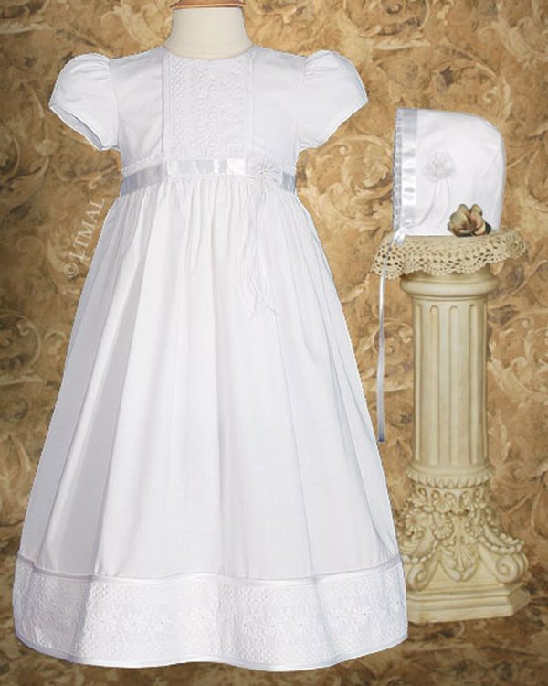 """Girls 23"""" Cotton Christening Gown with Floral Lace Detailing - One Small Child"""
