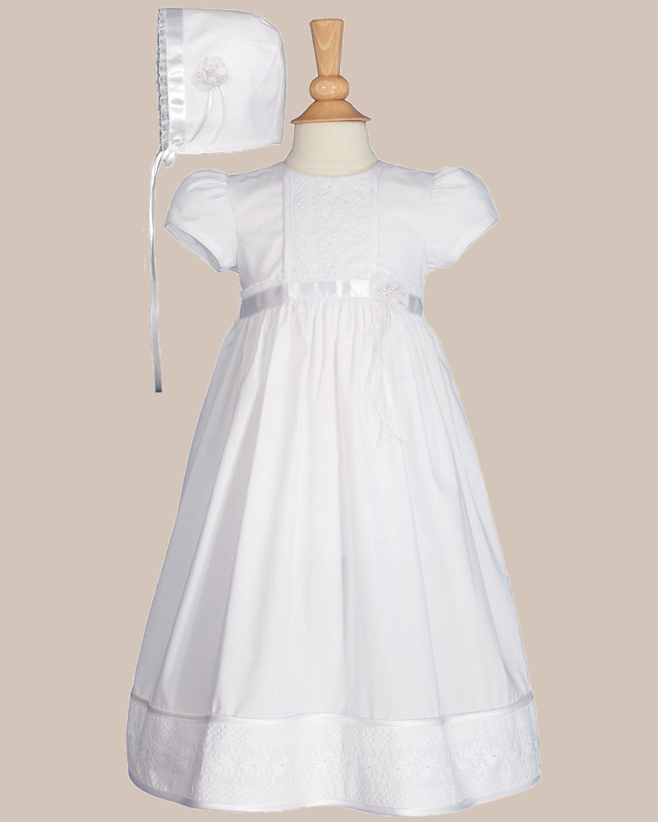"Baptismal Gown Preservation: Girls 23"" Cotton Christening Gown With Floral Lace"