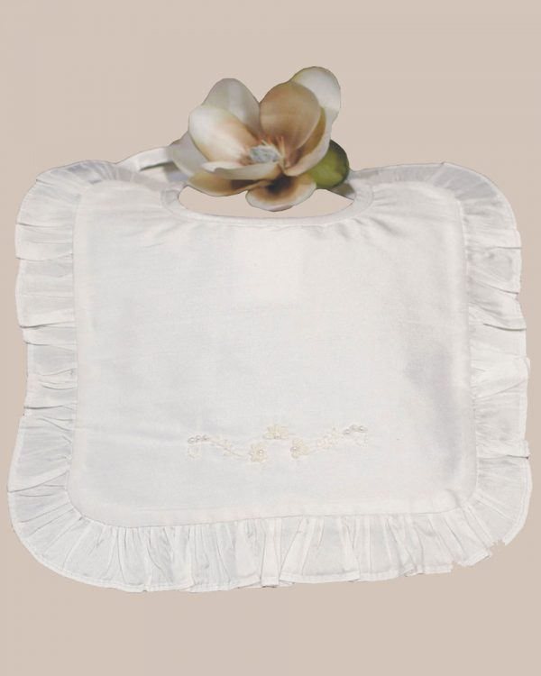 White Silk Dupioni Bib with Ruffles