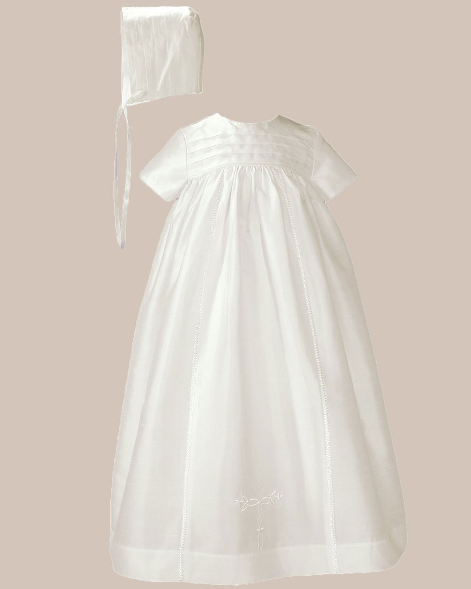 "Baptismal Gown Preservation: Silk 26"" Family Christening Baptism Gown"
