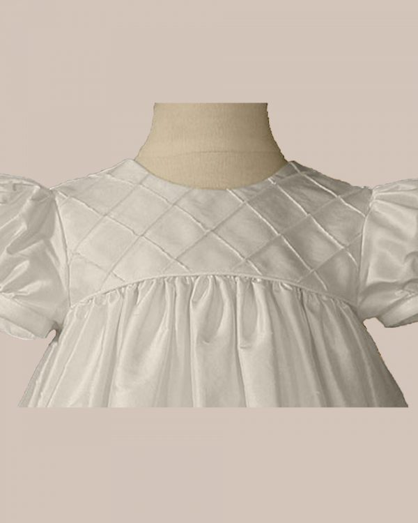 "Girls 26"" Silk Dupioni Dress Baptism Gown with Lattice Bodice"