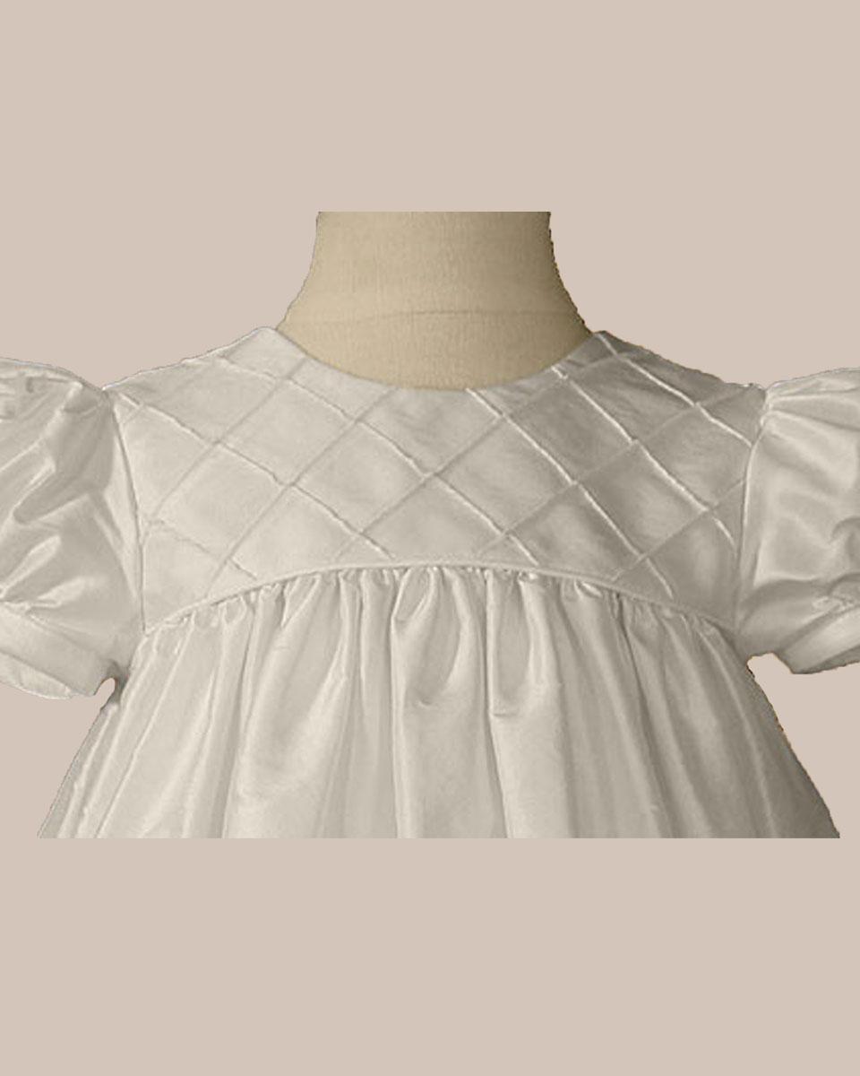 Girls 26 Quot Silk Dupioni Dress Baptism Gown With Lattice