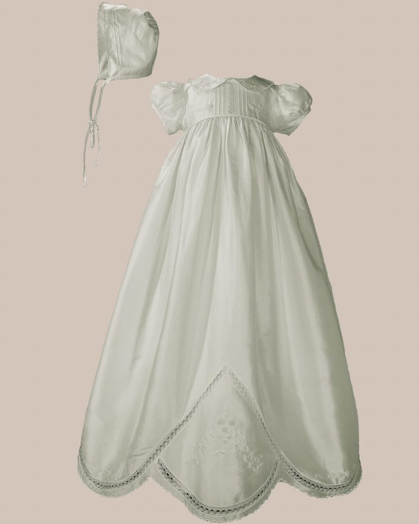 "Girls 33"" White Silk Dupioni Christening Baptism Gown with Hand Embroidery"