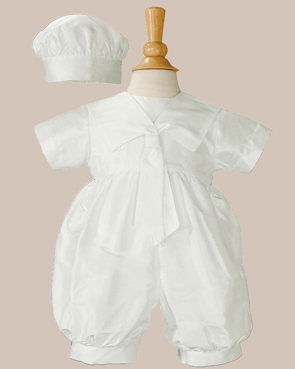 0b70f7714e7 Boys Silk Christening Baptism One Piece Romper with Sailor Collar and Hat