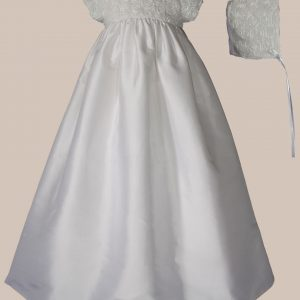 """Girls 32"""" Silk Dupioni Christening Gown with Rosette Bodice - One Small Child"""
