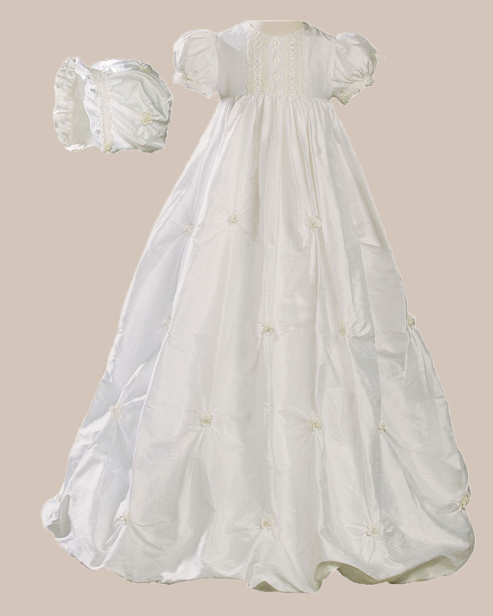 "Baptismal Gown Preservation: Girls 33"" Silk Bubble Christening Baptism Gown With"
