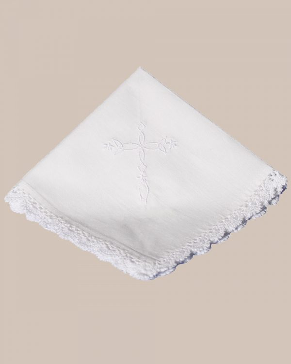 Cotton Christening Hankie Handkerchief Heirloom with Embroidered Cross