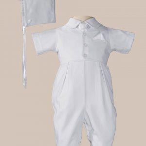 Boys Handsome White Vested Gabardine Short Sleeve Christening Baptism Coverall