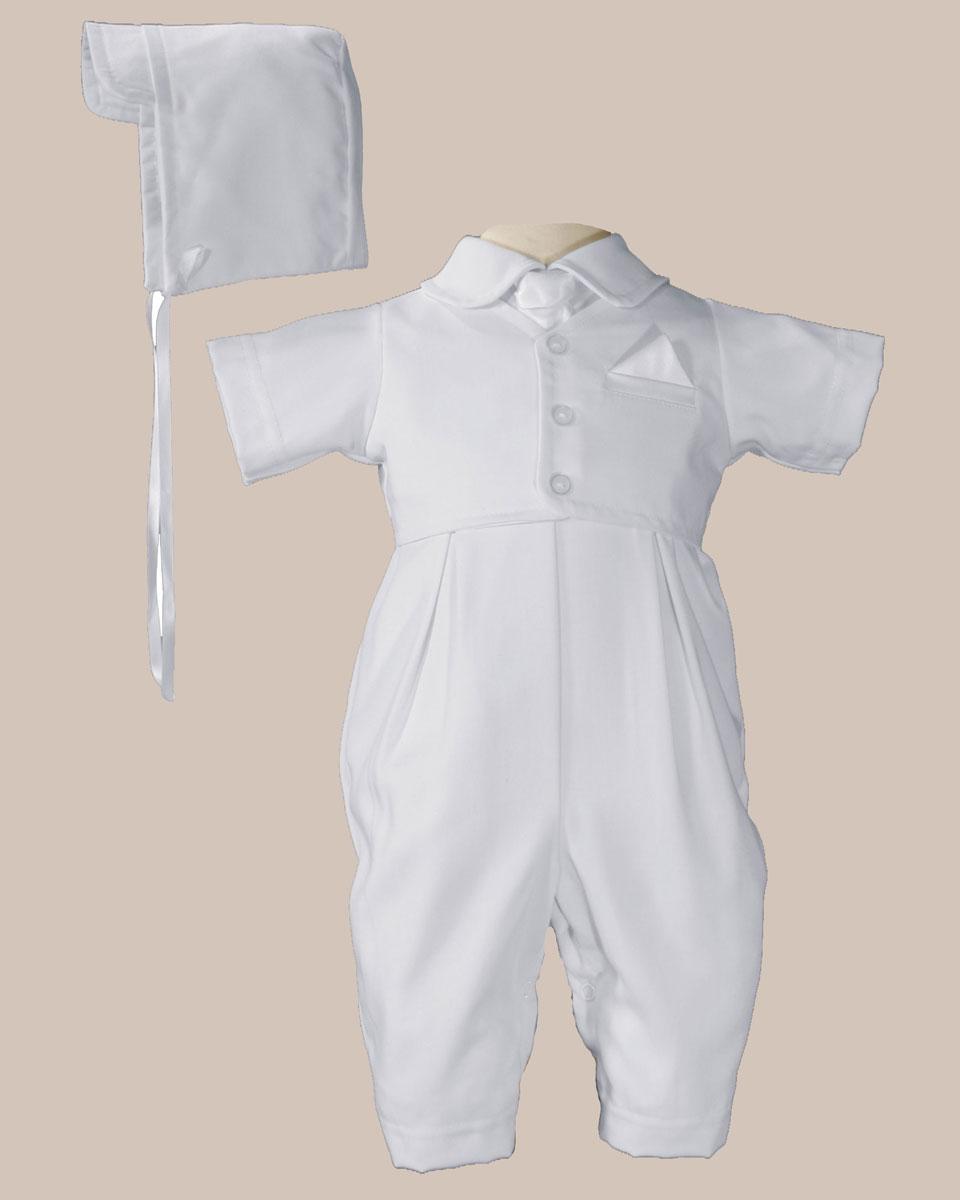 Handsome White Vested Gabardine Short Sleeve Christening Baptism Coverall 12 month 17-22 lbs