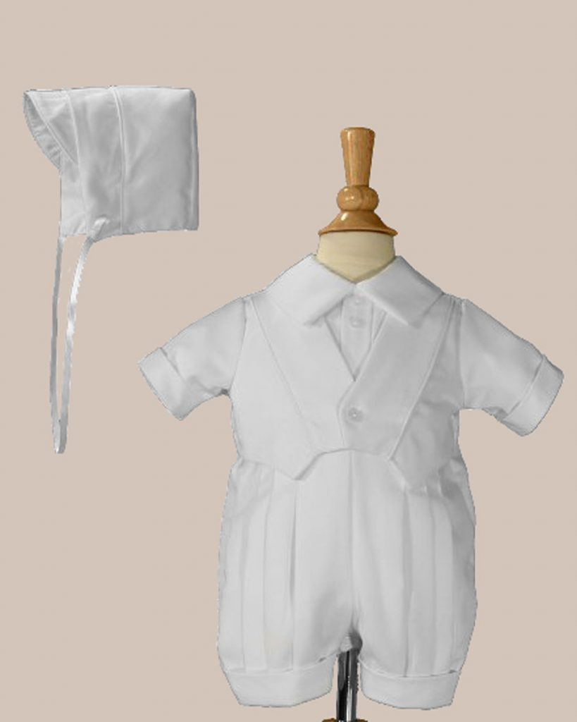 Boys White Christening Baptism Romper With Vest