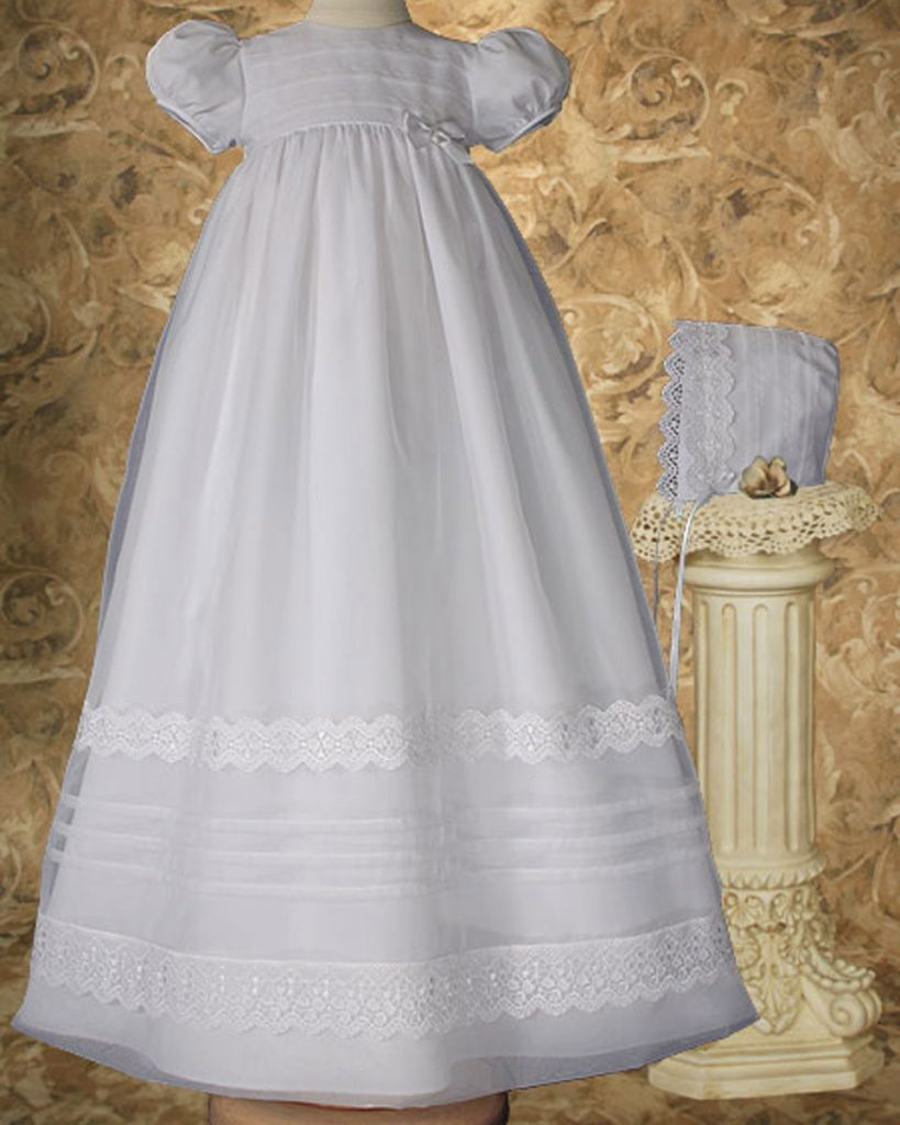 "Girls 34"" Poly Cotton Organza Christening Gown with French Lace and Pin Tucking"
