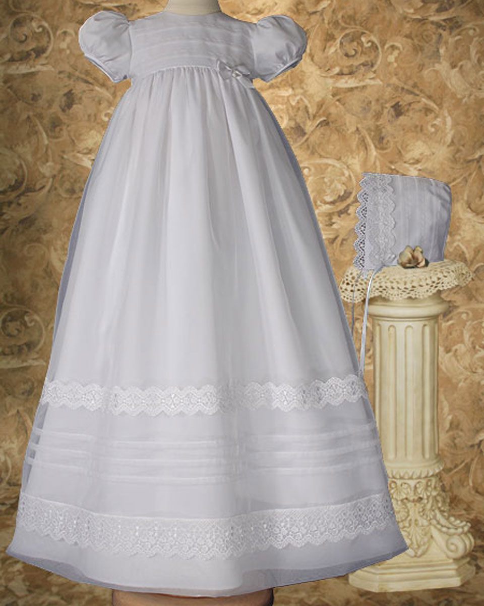 "Baptismal Gown Preservation: Girls 34"" Poly Cotton Organza Christening Gown With French"