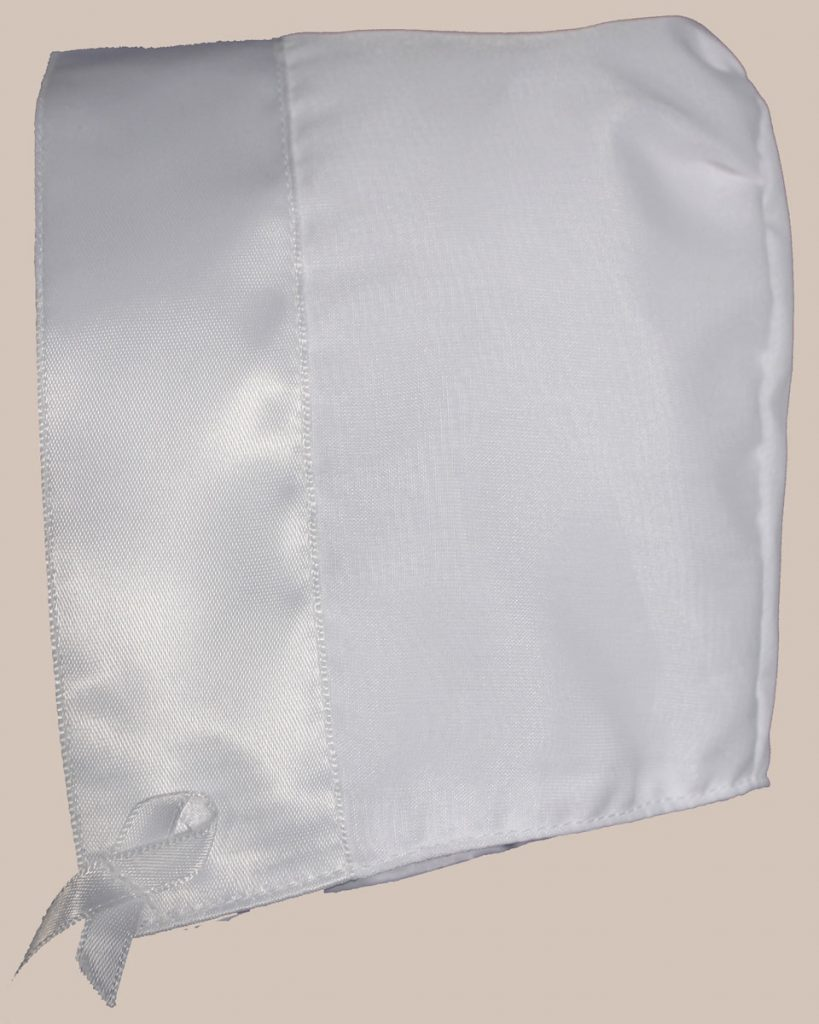 White Organza Overlay Poly Cotton Handmade Bonnet with Satin Trim