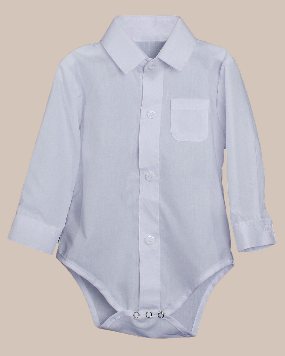 Baby Boys Poly Cotton Button Up White Dress Shirt Bodysuit Romper