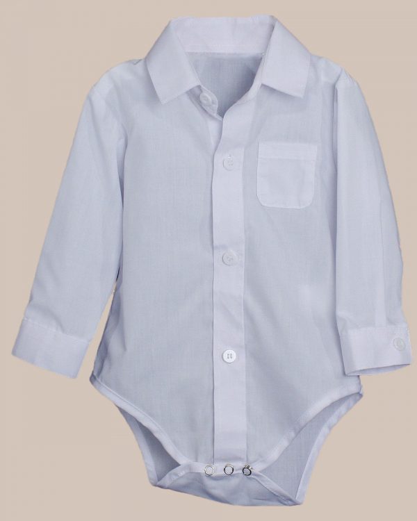 Baby Boys Poly Cotton Button Up White Dress Shirt Bodysuit Romper with Collar