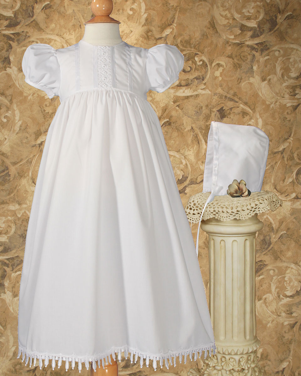 "Baptismal Gown Preservation: Girls 24"" Poly Cotton Teardrop Lace Christening Baptism"