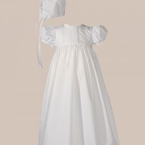 """Girls 24"""" Poly Cotton Teardrop Lace Christening Baptism Gown with Bonnet"""